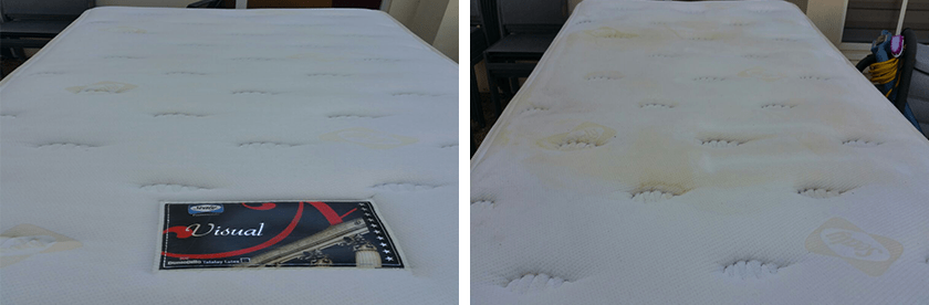מזרן לבן לפני ואחרי ניקיון
