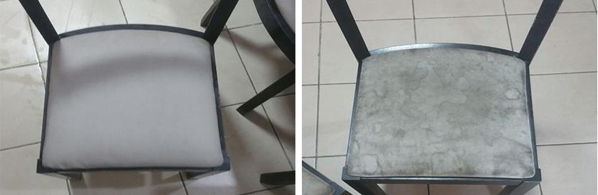 ניקיון כיסא שולחן מרופד לפני ואחרי