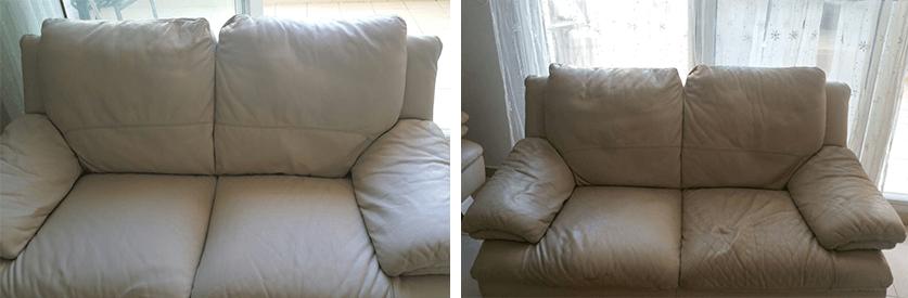 ניקיון של ספת עור לבנה לפני ואחרי