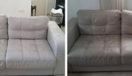 ספת עור לבנה לפני ואחרי ניקיון