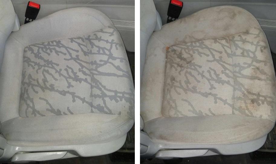 מושבי רכב אפורים לפני ואחרי ניקוי