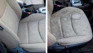מושבים של רכב בצע אפור לפני ואחרי ניקוי