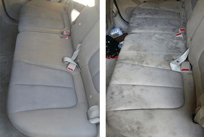 מושבים אחוריים של רכב לפני ואחרי ניקוי