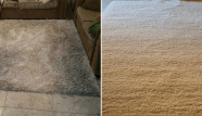 שטיח שאגי בהיר לפני ואחרי ניקיון