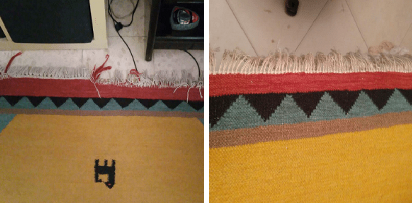 תיקון וניקוי שטיח נייד לפני ואחרי