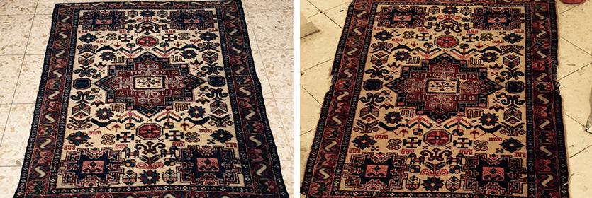 ניקוי שטיח גדול לפני ואחרי