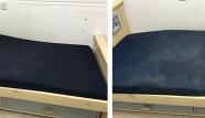 מזרן כחול לפני ואחרי ניקיון
