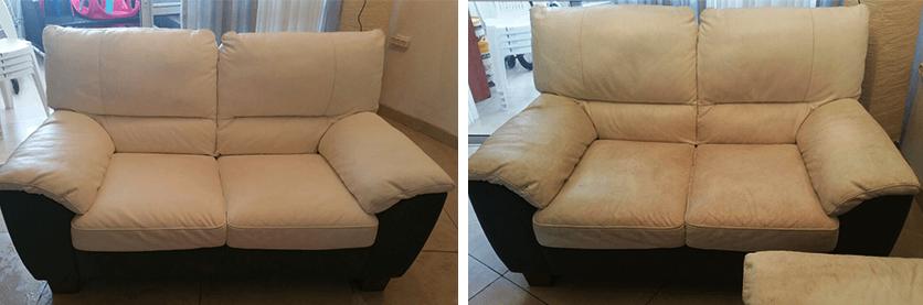 ניקוי ספת עור לבנה לפני ואחרי