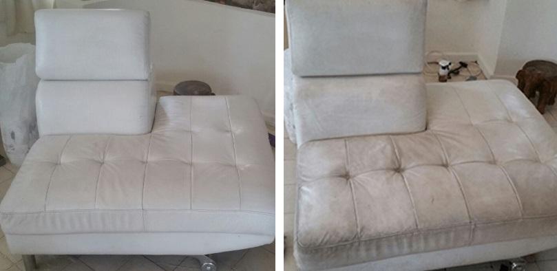 ניקיון ספת עור לבנה לפני ואחרי