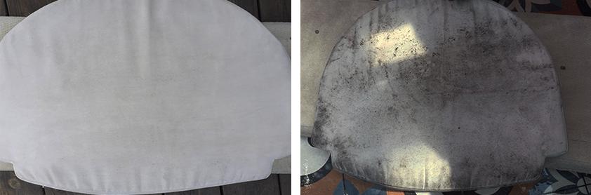 ריפוד לבן לפני ואחרי ניקוי
