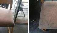 ניקוי כיסא בורדו במסעדה לפני ואחרי