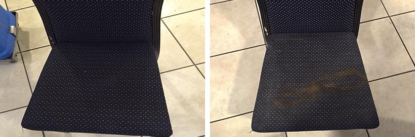 ניקיון כיסא בד לפני ואחרי