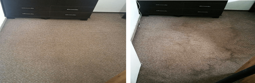 ניקוי שטיח חום מקיר לקיר לפני ואחרי