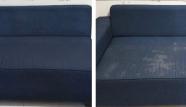 ספת בד כחולה לפני ואחרי ניקוי