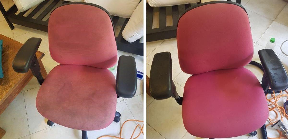 כיסא מחשב אדום לפני ואחרי ניקוי